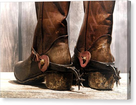 Cowboy Boots Canvas Print - The Muddy Boots by Olivier Le Queinec