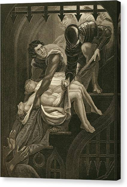 Tower Of London Canvas Print - The Murder Of The Two Princes by James Northcote