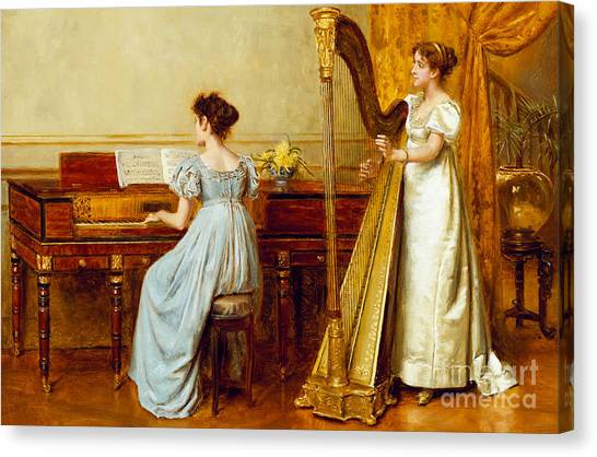 Golden Canvas Print - The Music Room by George Goodwin Kilburne