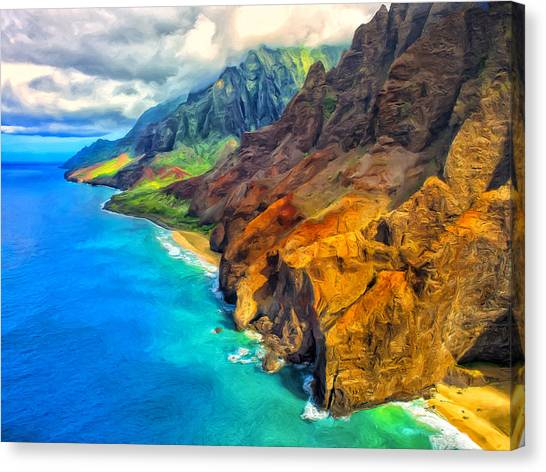 Mauna Loa Canvas Print - The Na Pali Coast Of Kauai by Dominic Piperata