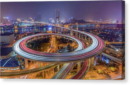 Night Lights Canvas Print - The Nanpu Bridge by Barry Chen