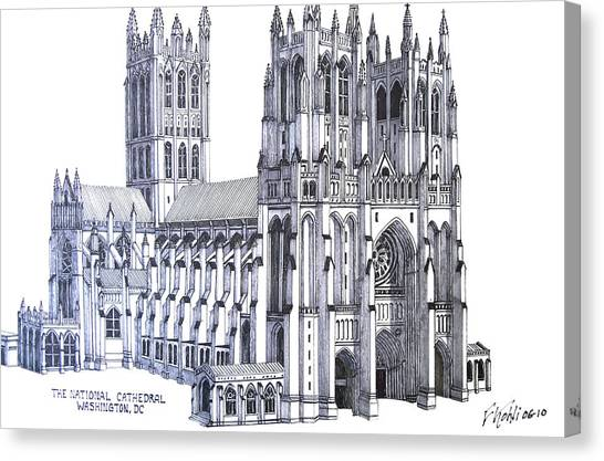 Pen And Ink Drawing Canvas Print - The National Cathedral by Frederic Kohli