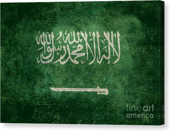 Arabian Desert Canvas Print - The National Flag Of  Kingdom Of Saudi Arabia  Vintage Version by Bruce Stanfield