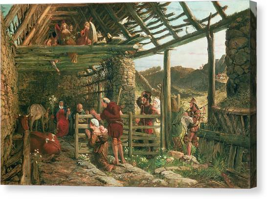 Bagpipes Canvas Print - The Nativity, 1872 by William Bell Scott