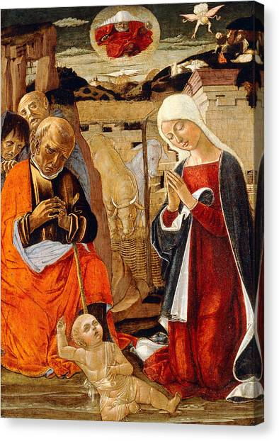 Holy Bible Canvas Print - The Nativity With The Annunciation To The Shepherds In The Distance by Benvenuto di Giovanni