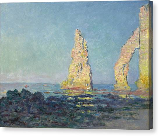 Etretat Canvas Print - The Needle Of Etretat  Low Tide by Claude Monet
