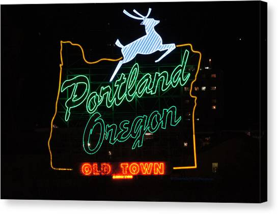 The New Portland Oregon Sign At Night Canvas Print by DerekTXFactor Creative