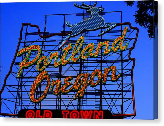 The New Portland Oregon Sign Day Time Canvas Print by DerekTXFactor Creative