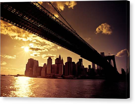City Sunsets Canvas Print - The New York City Skyline - Sunset by Vivienne Gucwa