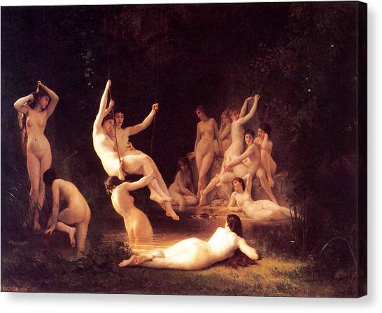 Erotic Framed Canvas Print - The Nymphaeum by William-Adolphe Bouguereau