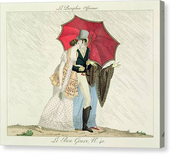 Fashion Plate Canvas Print - The Obliging Umbrella by French School