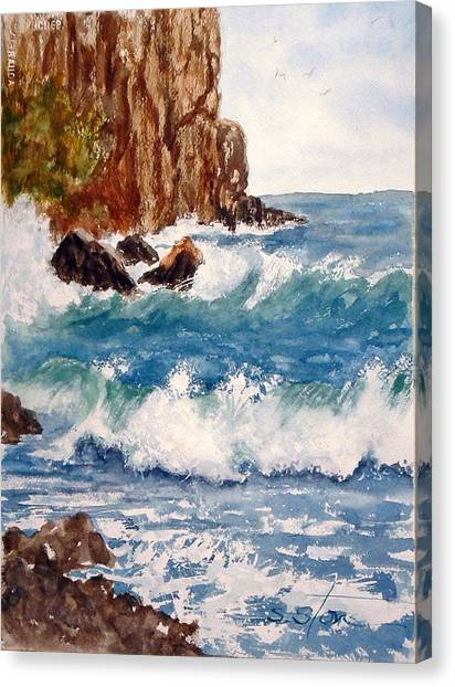 The Ocean Cliffs Canvas Print by Sandra Stone