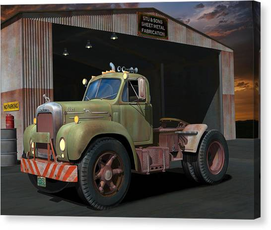 Rusty Truck Canvas Print - The Ol' Bulldog by Stuart Swartz