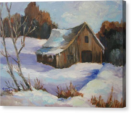 The Old Barn In Winter Canvas Print