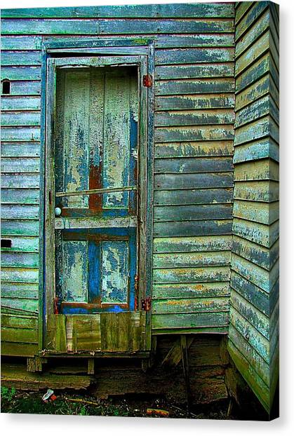 Abandoned House Canvas Print - The Old Blue Door by Julie Dant