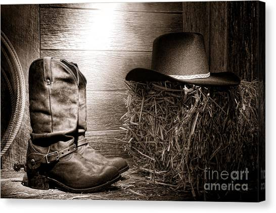 Cowboy Boots Canvas Print - The Old Boots by Olivier Le Queinec