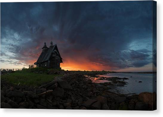 House Canvas Print - The Old Church On The Coast Of White Sea by Sergey Ershov