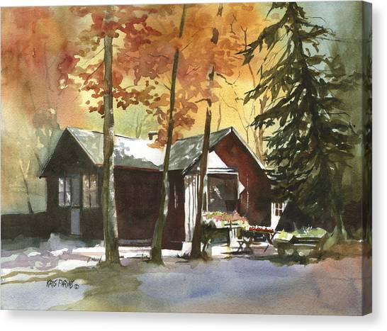 Log Cabin Canvas Print - The Old Cottage by Kris Parins