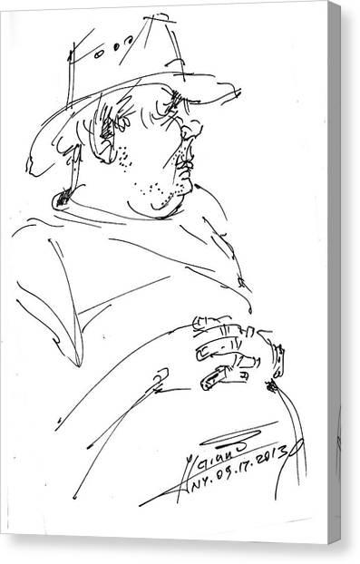Cowboy Canvas Print - The Old Cowboy by Ylli Haruni
