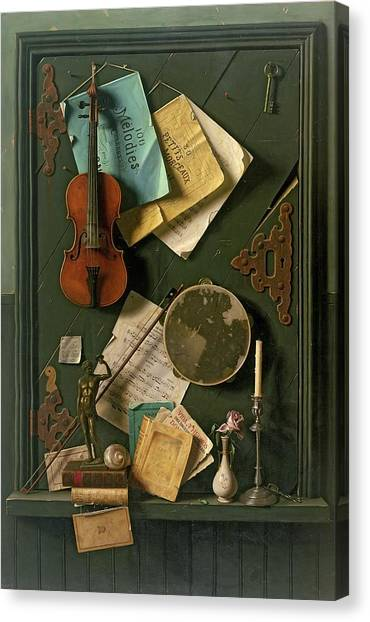 Tambourines Canvas Print - The Old Cupboard Door, 1889 by William Michael Harnett