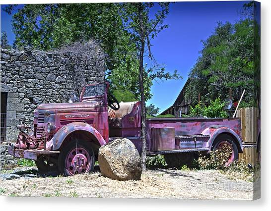 The Old Firetruck Canvas Print by Wayne Wilton