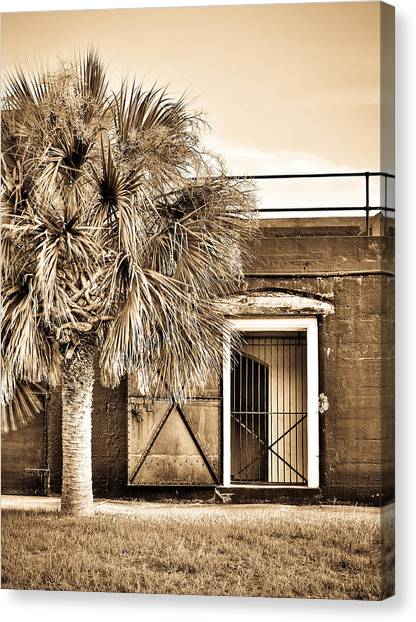 The Old Fort-sepia Canvas Print