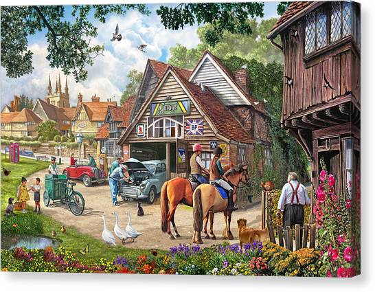 Boy And Girl Canvas Print - The Old Garage by Steve Crisp