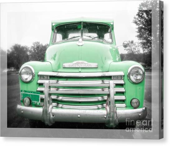 Classic Chevy Truck Canvas Print - The Old Green Chevy Pickup Truck by Edward Fielding