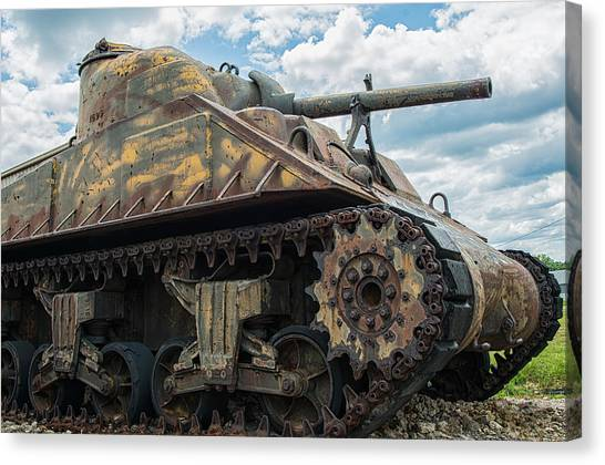 The Old Guardian-sherman Tank Canvas Print
