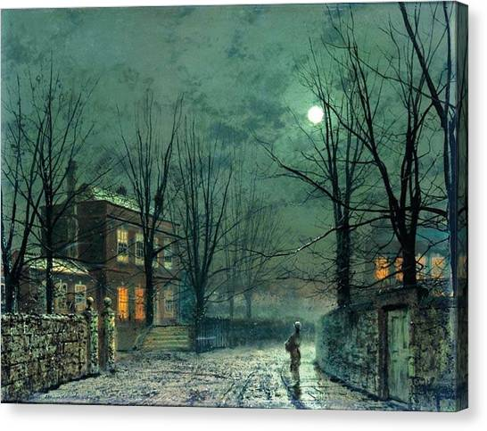 The Old Hall Under Moonlight Canvas Print