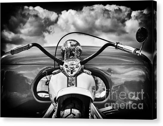 The Old Harley Monochrome Canvas Print