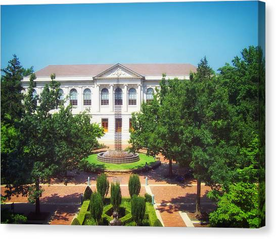 University Of Arkansas University Of Arkansas Canvas Print - The Old Main - University Of Arkansas by Mountain Dreams