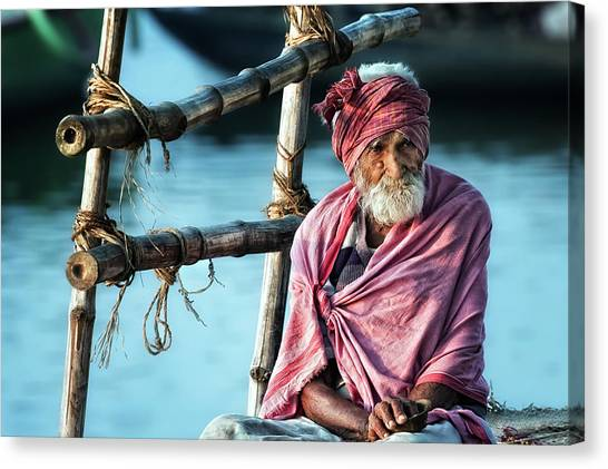 India Canvas Print - The Old Man And The Ganges by Piet Flour
