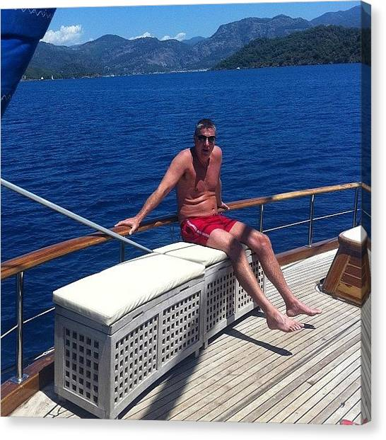 Turkish Canvas Print - The Old Man On Our Boat In Turkey :) by Ash Hughes