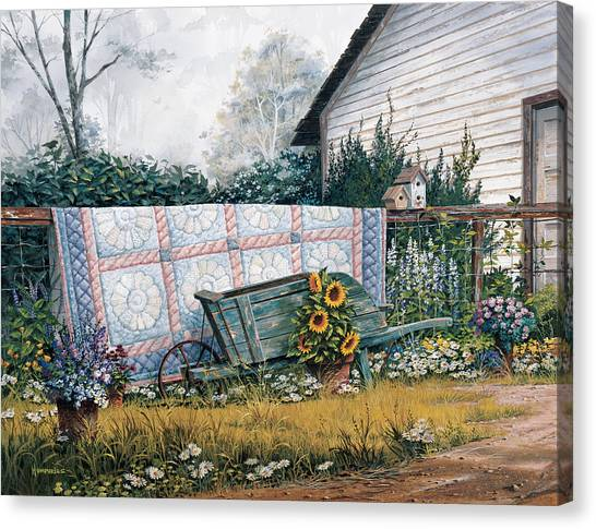 Sunflower Canvas Print - The Old Quilt by Michael Humphries