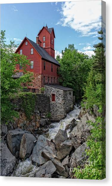 Vermont Canvas Print - The Old Red Mill Jericho Vermont by Edward Fielding