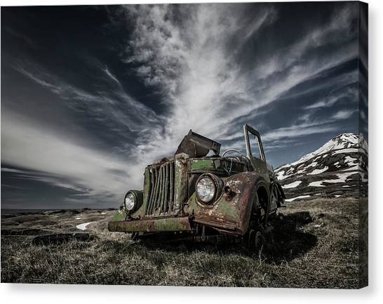 Rusty Truck Canvas Print - The Old Russian Jeep by Bragi Ingibergsson -