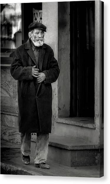 Old Man Canvas Print - The Old Timer by Xenophon Mantinios