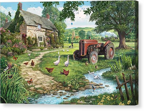 Goose Canvas Print - The Old Tractor by Steve Crisp