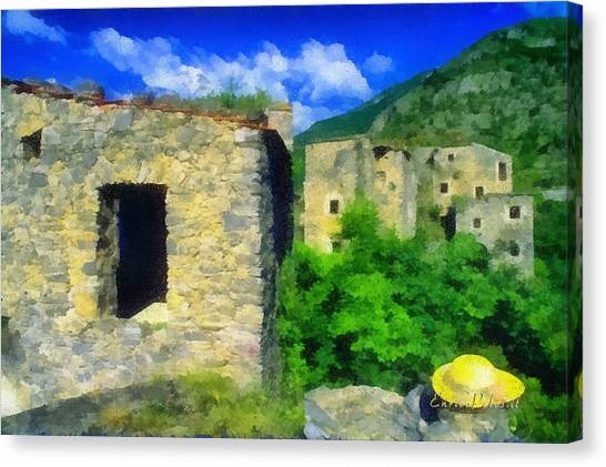 The Old Village And The Yellow Hat Canvas Print