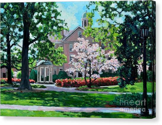Unc Chapel Hill Canvas Print - The Old Well At Unc by David Gellatly
