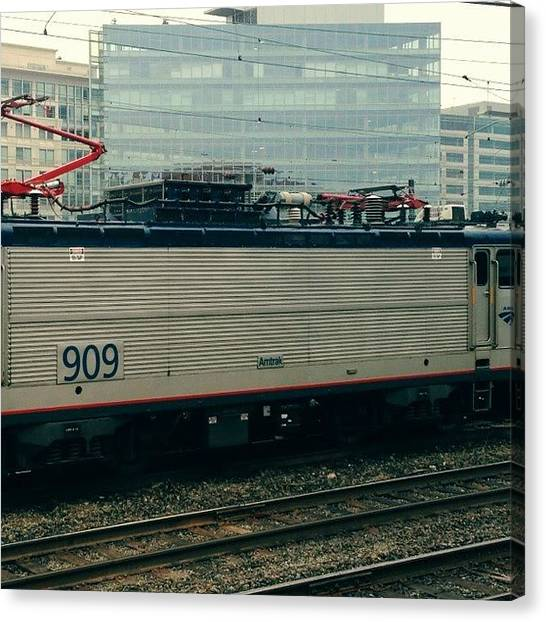 Trainspotting Canvas Print - The One After 909 #amtrak #trainspotting by Maria Helena