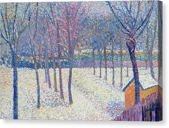 Pointillism Canvas Print - The Orchard Under The Snow  by Hippolyte Petitjean