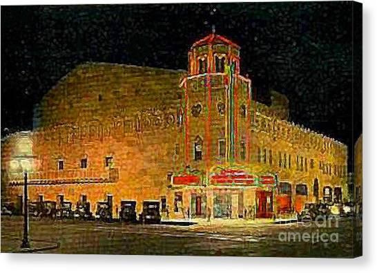 The Orpheum Theatre At Night In Phoenix Az In 1932 Canvas Print by Dwight Goss