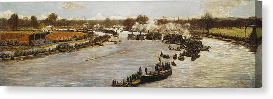 1880s Canvas Print - The Oxford And Cambridge Boat Race by James Macbeth