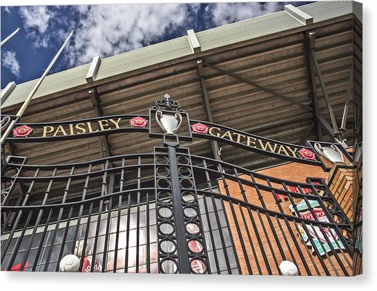 Liverpool Fc Canvas Print - The Paisley Gateway by Paul Madden