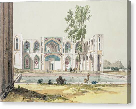 Iranian Canvas Print - The Palace Of Tchar-bag At Isfahan by Jules Joseph Augustin Laurens