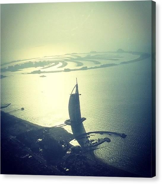 Seaplanes Canvas Print - The Palm Against The Burj #dubai by Bob Sheehan