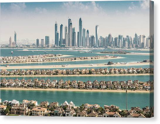 The Palm Jumeirah In Dubai With Skyline Canvas Print by Franckreporter