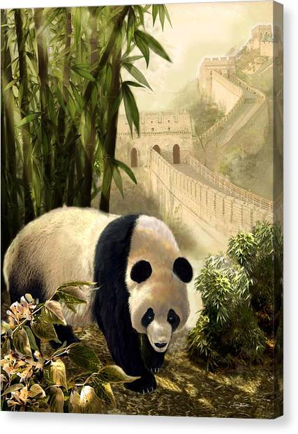 Gina Femrite Canvas Print - The Panda Bear And The Great Wall Of China by Regina Femrite
